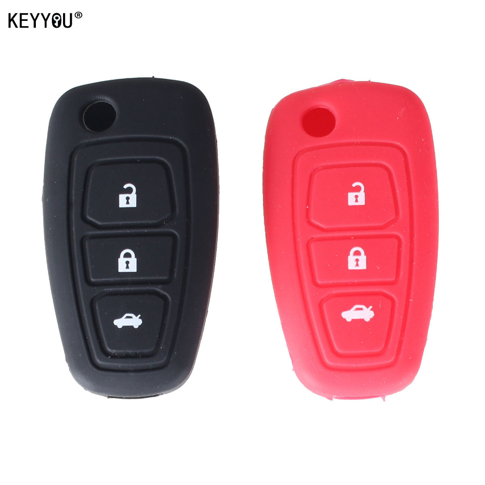KEYYOU Flip Folding Key Cover Silicone Case For Ford Focus Fiesta 2013 Fob Case 3 Buttons цена