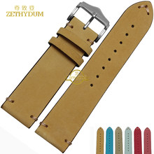 Frosted Genuine leather watchband watch band wholesale handmade leather bracelet Wrist watch strap wristwatches band 20mm 22mm(China)