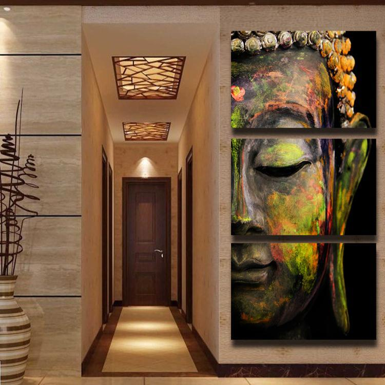 3 panel HD Printed oil painting colorful Buddha canvas ...