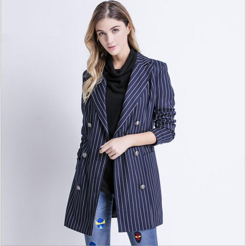 Women Blazer 2019 High Quality Long Sleeve Double Breasted Striped Casual Jacket Ladies Outwear BLZ034