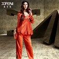XIFENNI Satén De Seda Pijamas Conjuntos de Pijamas de Seda de Imitación Femenina de Encaje de Manga Larga de Tres Piezas de ropa de Dormir Robe + Tops + pantalones 1531