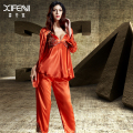 XIFENNI Silk Satin Pajamas Female Imitation Silk Pyjama Sets Long-Sleeved Lace Three-Piece Sleepwear Robe+Tops+Pants 1531