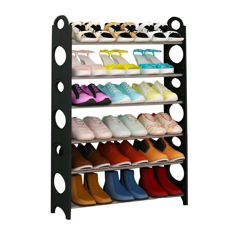 Shoe Rack shelf Standing Adjustable 6 Tier shoe rack storage Organizer Space Saving Black