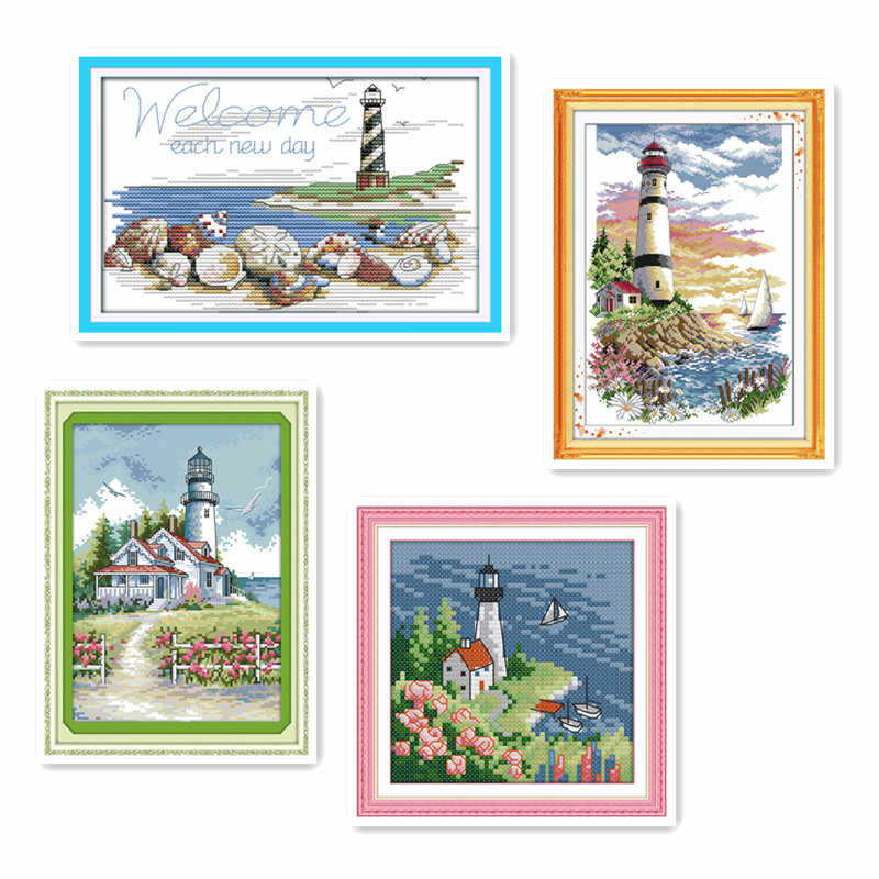 Cross stitch handmade embroidery with Chinese characteristics wholesale seaside beacon slightly landscape decorations painting