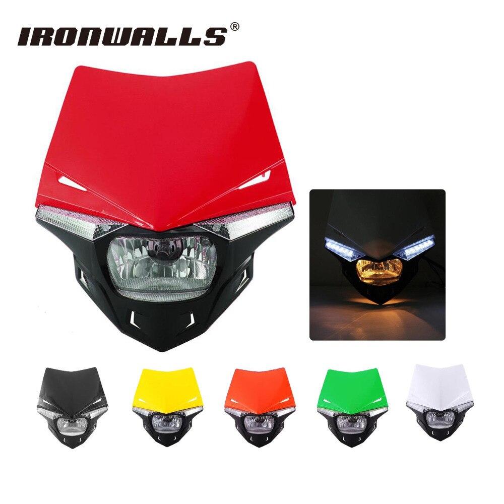Ironwalls Motorcycle Street Fighter UFO Headlight Fairing Kit Motocross Turn Signal For Yamaha Honda Aprilia RS Enduro Scooter