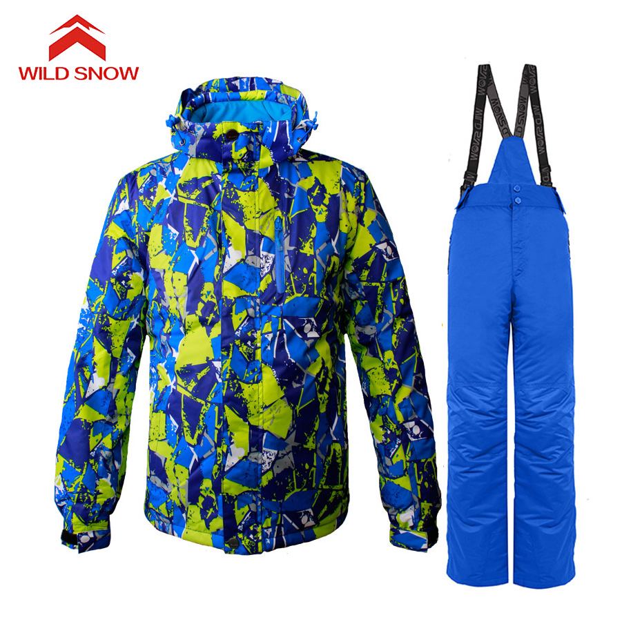 Wild snow Brand New Skiing Suit Sets Snowboarding Clothes Waterproof Windproof Winter Snow Costumes jackets +bibs pants Ski suit new men snow clothes skiing suit sets specialty snowboarding sets waterproof windproof winter sports snow jackets and pants