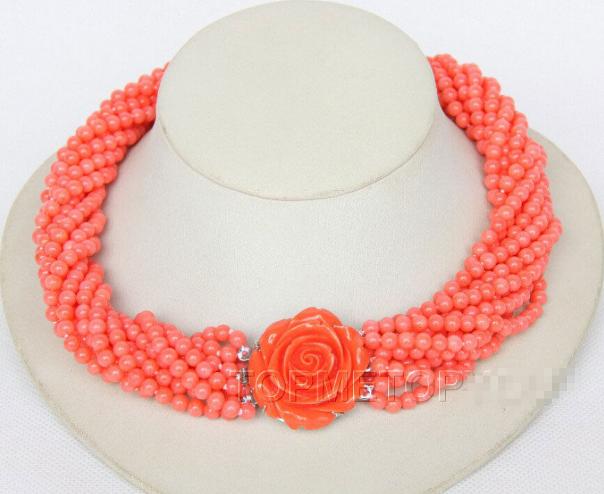 Hot sell Noble- hot sell new - Nobler! 18 10strands round pink coral necklace e2288^^^@^Noble style Natural Fine jewe FREE SHIP hot sell h