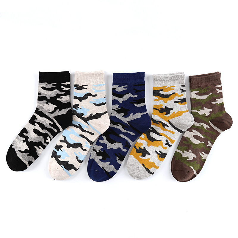 Obedient New Arrival Camouflage Fashion Men Socks 5 Pairs/lot High Quality Fashion Cotton Socks Happy Crew Socks Calcetines Mujer Products Hot Sale Men's Socks