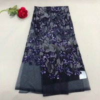 Dark Blue 2018 5yards Pc High Quality African French Net Lace Farbic With Heavy Sequins Embroidery