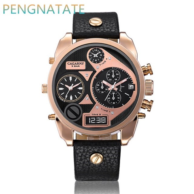 New CAGARNY Men Dual Movement Watches Top Brand Luxury Leather Strap Watch gold Fashion Sport Watches Men Cheap Watch PENGNATATE