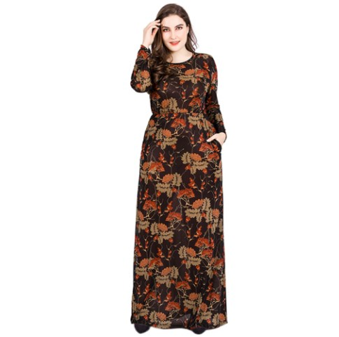 XL-6XL Plus Size Women Dress 2018 New Arrival Vintage Floral Print Dress Vestidos De Festa Robe Elegant Bandage Long Dress FW48