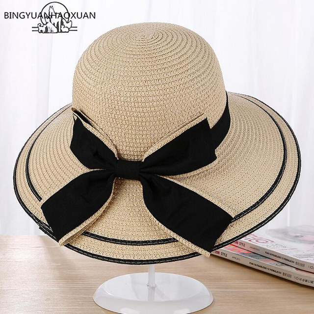 fe6f06b79a3 BINGYUANHAOXUAN Sun Hat Big Black Bow Summer Hats For Women Foldable Straw  Beach Panama Hat Visor Wide Brim Femme Femme 2017 New