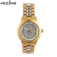 HEZONE Women Watch Luxury Golden Crystal Quartz Dress Wristwatch Ladies Bracelet Clock Watches For Women Reloj