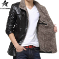 2017 Mens Leather Jacket 3 Color Avaliable Casual Plush Thickening Single Breasted Youth PU Jacket Inside Plush Keep Warm MT296