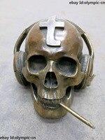 Китайская латунная медная резная Красивая череп головы слушать музыку курить статуя