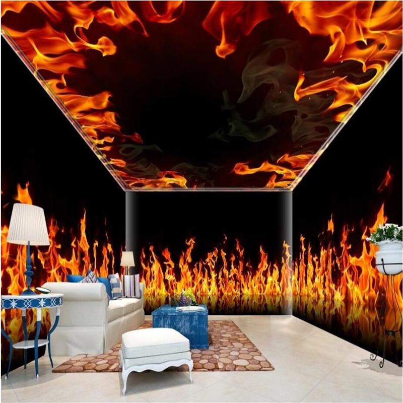 Us 8 4 44 Off Beibehang Custom 3d Wallpapers Hd Burning Flames Wallpaper Decorative Painting Whole House Backdrop Theme Space In Wallpapers From