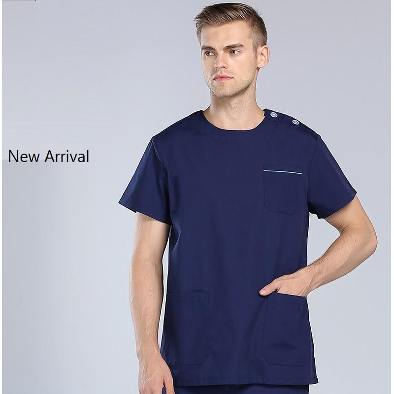 2017 Hospital & Dental Clinic Male Doctor Short Sleeve Surgical Uniform Man Isolation Gown Scrub Set,Nurse Medical Suit Set,LX01
