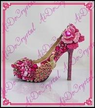 Aidocrystal Gorgeous Luxury Rhinestone Crystal Wedding Bridal Jeweled Beaded Women High Heels Evening Prom Party Shoes