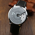 Silver Band Quartz Wrist Watch Turntable Black Dial Clock Hours Mens Womens Gift Unisex