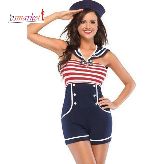 Women holloween costume Navy Red White Women Pin up Sailor Costume 8847 cosplay sexy Halloween fantasias women holloween costume