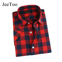 Flannel Plaid Shirt Men Short Sleeve Cotton Men S Shirts Classic Plaid Men Shirt Turn Down