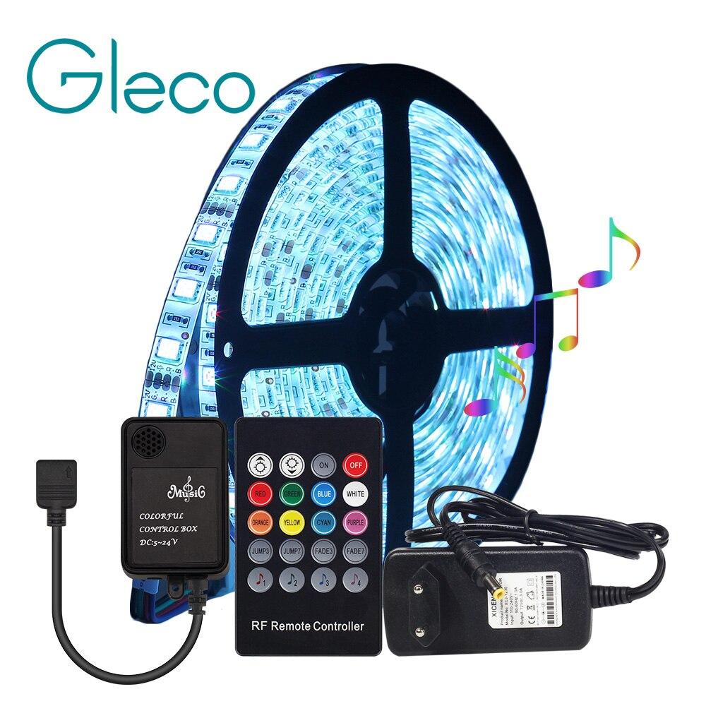 цена на DC12V LED Strip 5050 RGB with Music Sensor Controller 20Key Remote Flexible LED Strip Light 5050 60LEDs/m 5M/lot