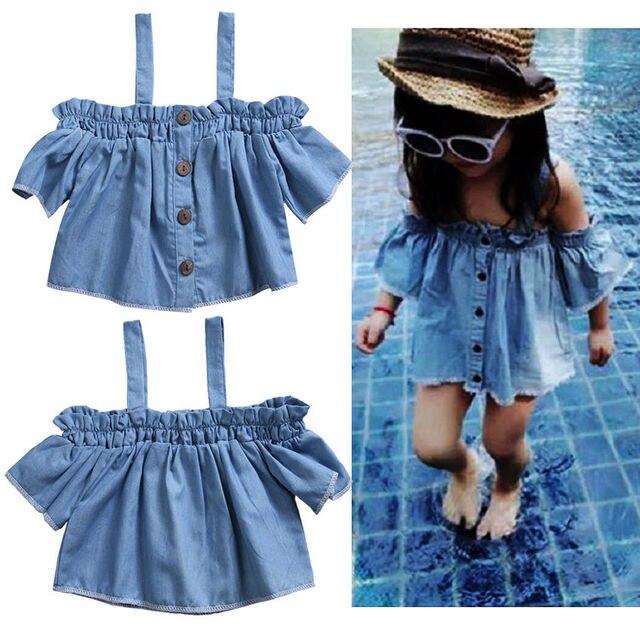5159461a2 Newborn Kids Baby Girls Off Shoulder Blouse T Shirt Tops Casual ...