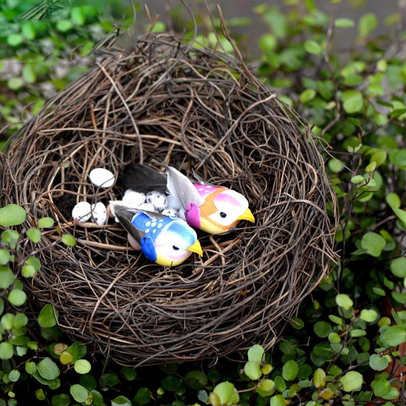 7pcs set mini bird nest eggs resin craft miniature for Artificial birds for decoration