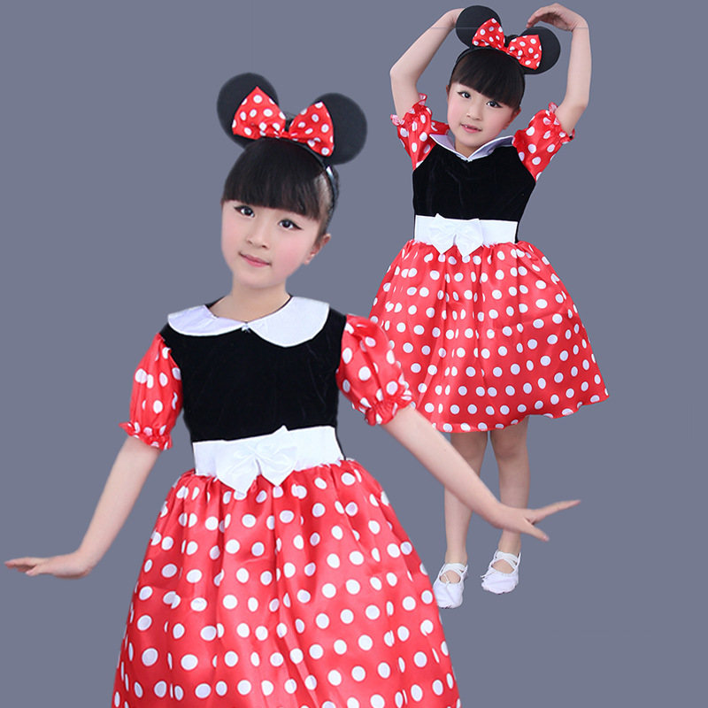Cute Girls Dress Kids Dance Leotard Ballet Tutu Skate Gymnastic Leotards Minnie Mickey Cosplay Dots Dancewear for 90-160cm Girls