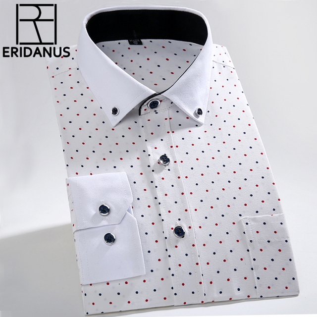 2016 Men Dress Shirt Spring New High Quality Fashion Floral Printed Long Sleeve Slim Fit Casual&Business Male Shirts S-4XL M042