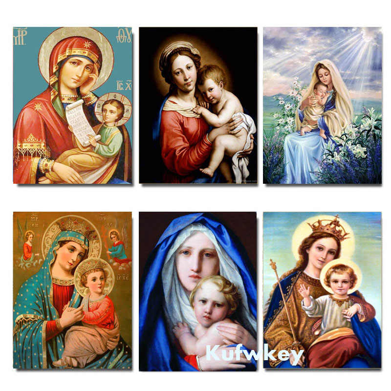 Kim Cương Mới Tranh Đức Mẹ Trẻ Em Thiên Chúa Giáo Tôn Giáo Chúa Giêsu Kitô DIY 3D Kim Cương Vuông Thêu Biểu Tượng Bà Mẹ Yêu Con