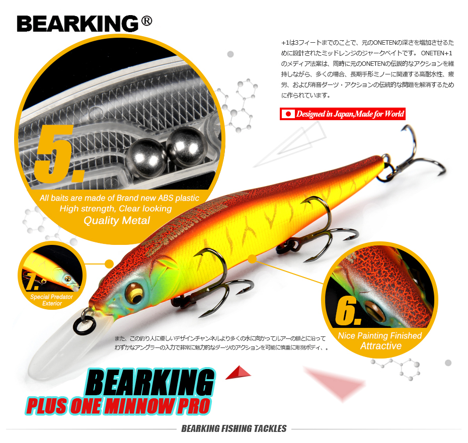 ¡Gran descuento! señuelos de Pesca menor, colores surtidos calidad Minnow 110mm 14g, Bola de tungsteno bearking 2017 modelo crank bait