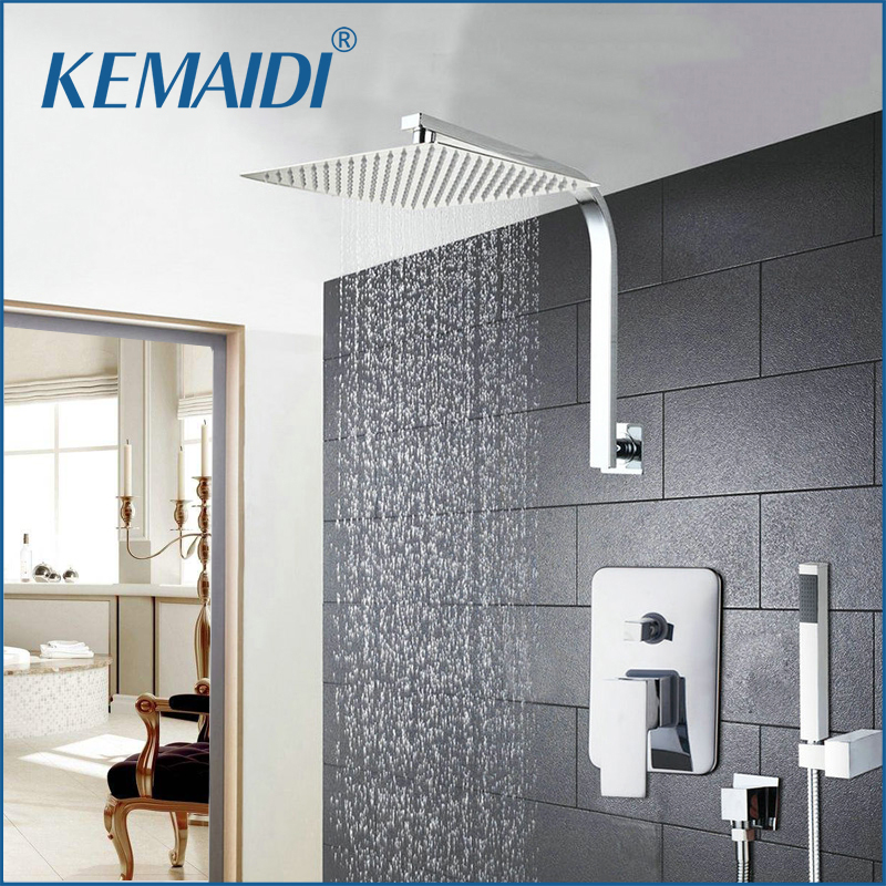 KEMAIDI 6 8 10 12 16 Inch Shower Head System Stainless Steel Rainfall Shower Faucets Hand