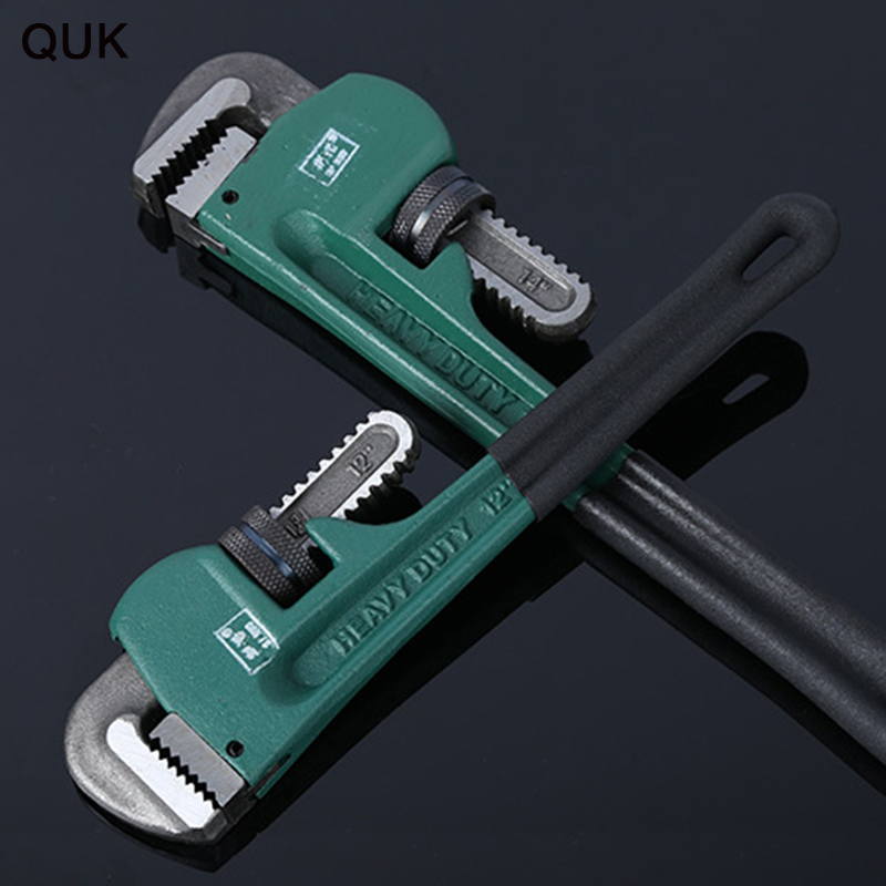 QUK Pipe Wrench Pipe Clamp 8Inch 10Inch 12Inch  Heavy Duty Plumbing Manual Tools High Carbon Steel Anti-rust Anti-corrosion