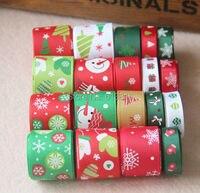 High Quality 19 YDS Mixed 19 Style Satin Grosgrain Ribbons Cartoon Hairbows Ribbon Set Christmas Ribbon