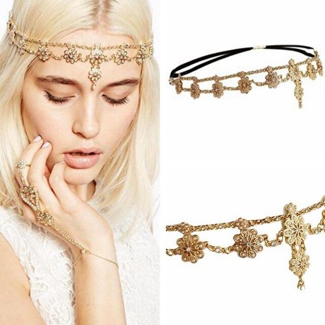Flower Tassel Head Jewelry 2018 Women Fashion Elegant Rhinestone Elastic Head Ch