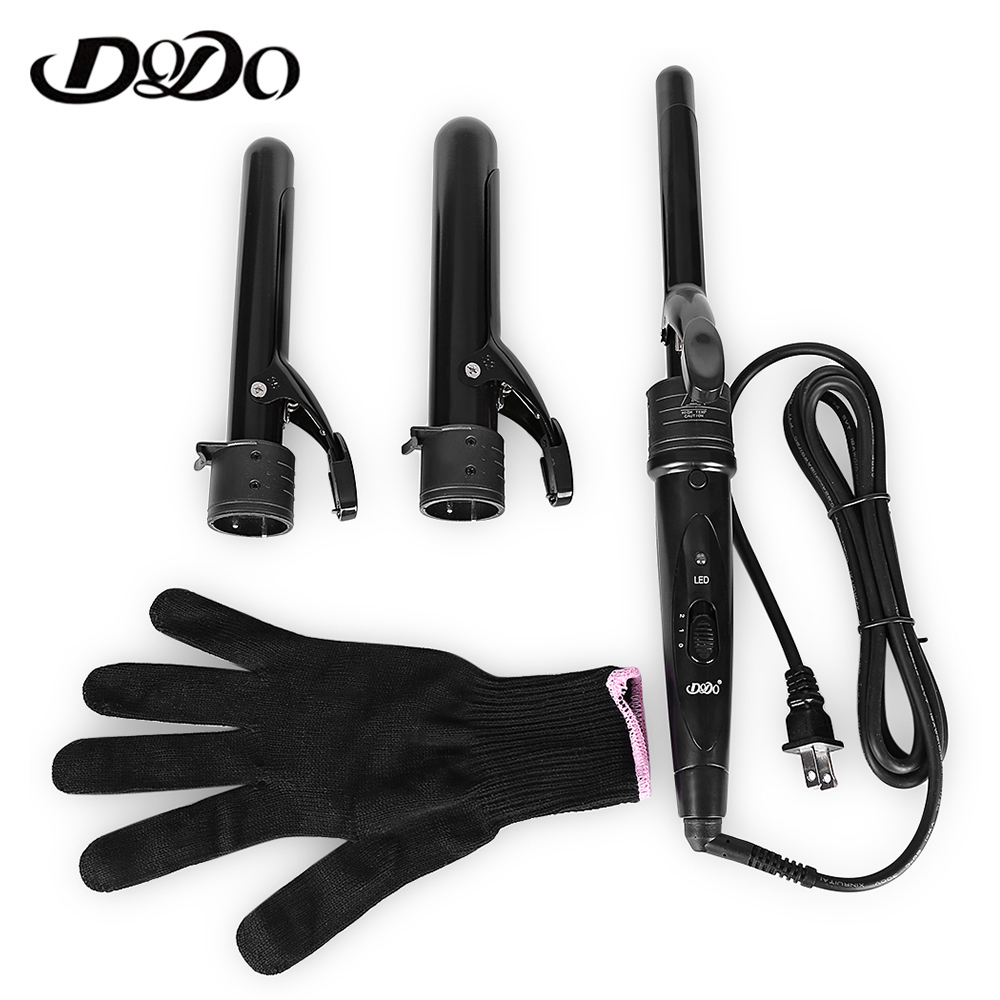 DODO Pro Electric 3 In 1 Multifunctional Hair Curler Curling Irons Set Clip-Less Ceramic  Interchangeable EU/US Plug Dry Hair dodo 3 in 1 interchangeable curling wand hair curler iron ceramic curling irons hair styling tool electric hair curler comb set