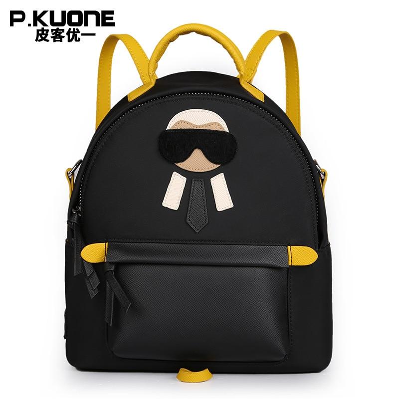 P.KUONE 2018 New Arrived Nylon Women Mini Backpack Famous Brand Shoulder Bag Female High Quality School Bag For Teenager Girl