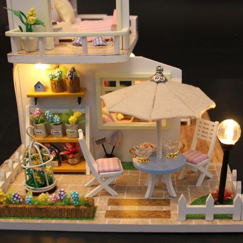 Hoomeda nueva llegada miniatura casa de muñecas de madera con - Muñecas y accesorios - foto 4