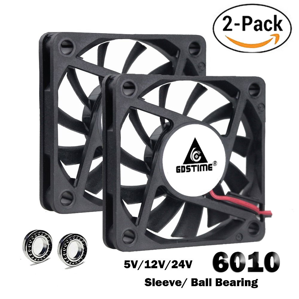 2 Pcs Gdstime 60mm 5V 12V 24V Brushless USB 2PIN 3PIN DC Cooler Fan 60x60x10mm 6010 6cm For Computer PC CPU Case Cooling