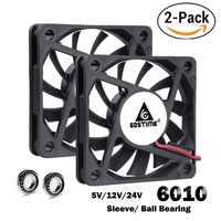 2 pces gdstime 60mm 5 v 12 v 24 v sem escova usb 2pin 3pin dc cooler fan 60x60x10mm 6010 6cm para computador pc cpu caso de refrigeração