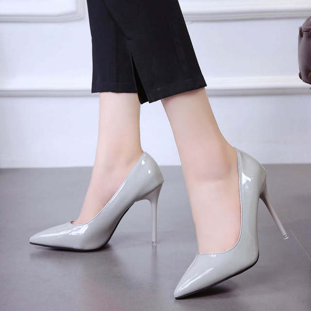2019 HOT Women Shoes Pointed Toe Pumps Patent Leather Dress  High Heels Boat Shoes Wedding Shoes Zapatos Mujer Blue White 43