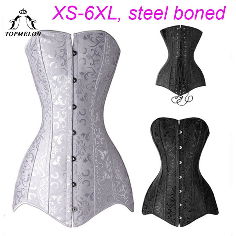 TOPMELON Steampunk   Corset   Women's Victorian Style Shaper Steel Bone S-6XL Plus Size   Bustier   Slimming   Corsets   Costume Black White