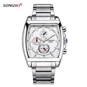 Image 4 - LONGBO mode hommes montre haut marque de luxe cadran carré mâle montre de sport hommes en acier inoxydable montre Relogio Masculino reloj hombre