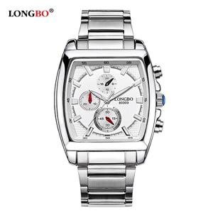 Image 4 - Longbo moda masculina assista topo da marca de luxo quadrado dial masculino relógio esportivo masculino aço inoxidável relogio masculino reloj hombre