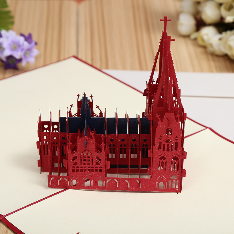 Factory direct three-dimensional Cologne Cathedral creative DIY 3D building business card paper hollowed out cards матрас konkord modern comfort 140x195x18