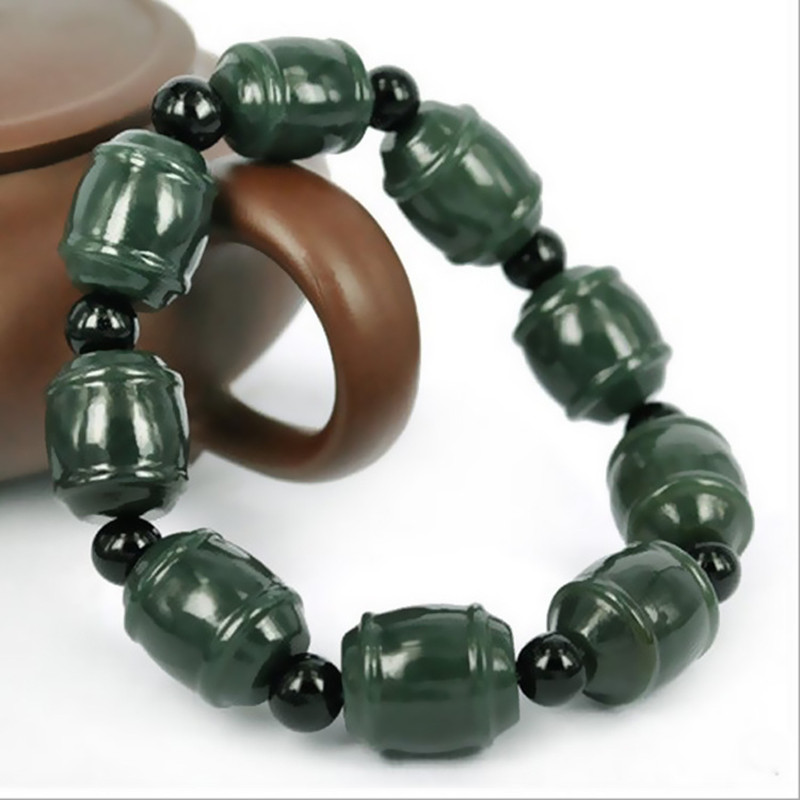 Natural Dark Green HETIAN nephrite Bracelet Transport bead Hand String Bracelet Bangles Fashion Men Women's Jades Jewelry