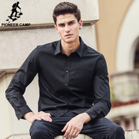 Pioneer Camp Black Shirt Men Long Sleeve New Arrival Brand Clothing High Quality Cotton Fashion Back