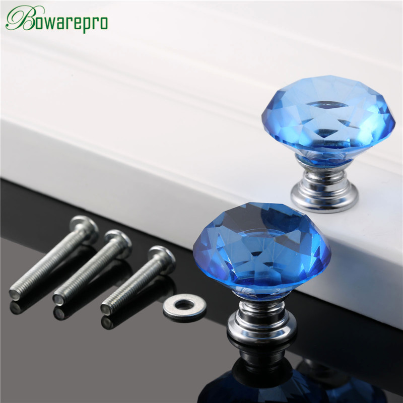 Permalink to bowarepro 30mm knob Diamond Crystal Glass kitchen cabinet accessories hardware furniture door handle accessory 2+6 Screws Blue