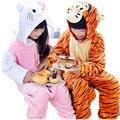 2016 Otoño Invierno Nuevos niños de Dibujos Animados pijamas Niños pijamas de Franela Animal Encantador pijamas ropa de Los Cabritos Encapuchados Ropa de Dormir Mameluco
